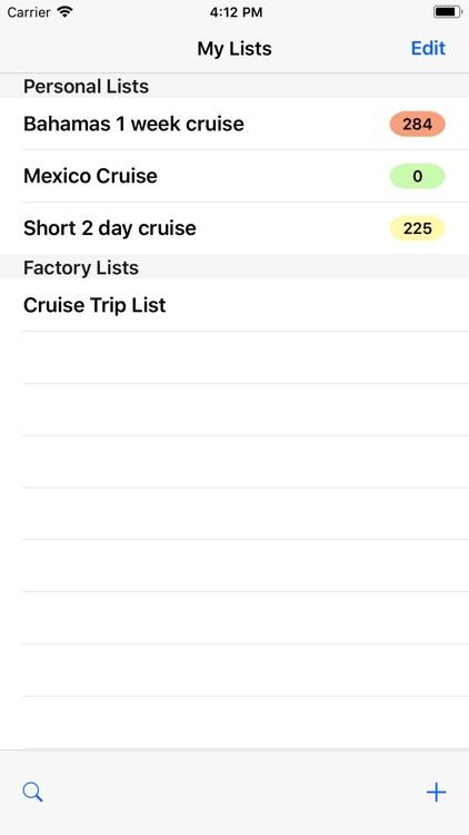 Cruise Trip List