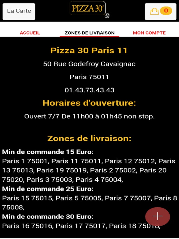 Image of Pizza 30 Paris 11 for iPad