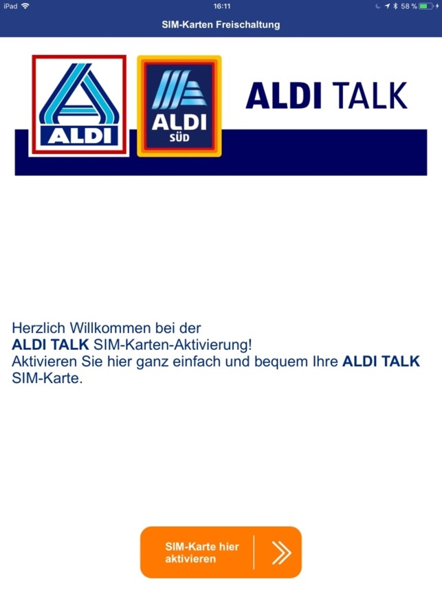 Aldi Talk Sim Karte Freischalten.Aldi Talk Aktivierung Im App Store
