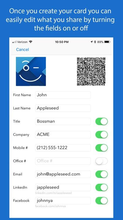 DEETS: QR Code Contact Card