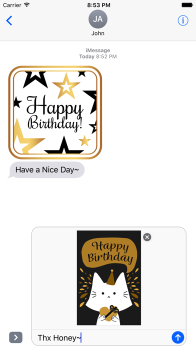 Birthday Card - Collection of Gold Style Stickers screenshot 2