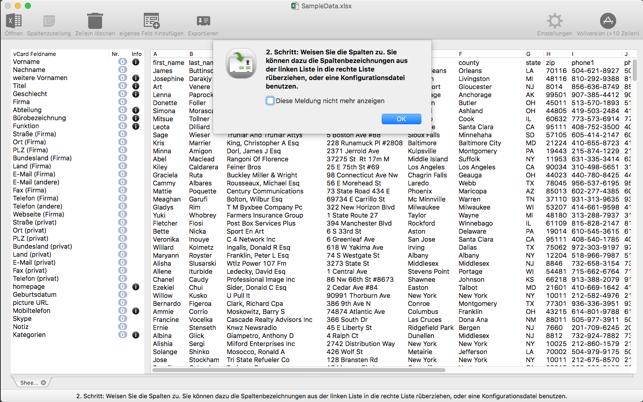 vCardConverter for Excel Screenshot