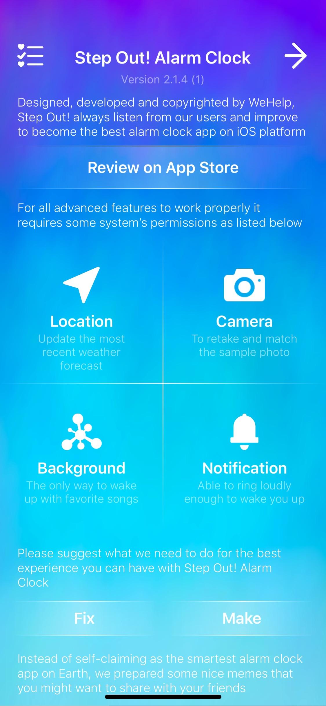 Screenshot do app Step Out! Alarma Inteligente