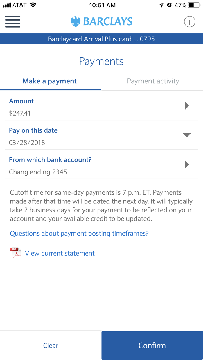Barclays US Screenshot