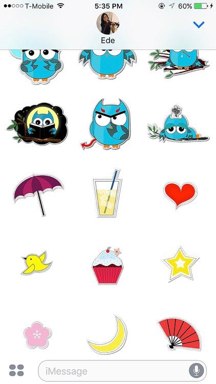 Blue Owl Fukuro Stickers screenshot-3