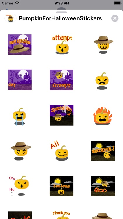 Pumpkin For Halloween Stickers screenshot-1