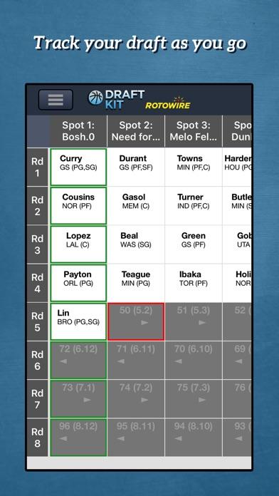 RotoWire Fantasy Basketball Draft Kit 2017 screenshot 4