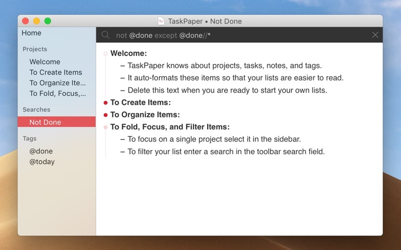 TaskPaper – Plain text to-dos Screenshots