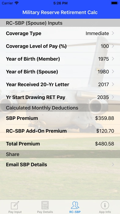 Screenshot for Mil Reserve Retirement Calc in United States App Store