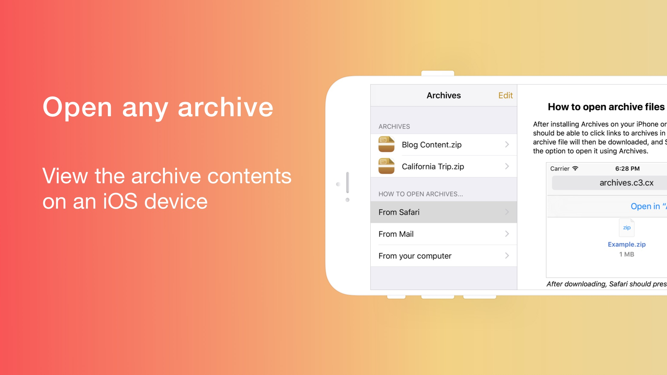 Screenshot do app Archives: Opens any format