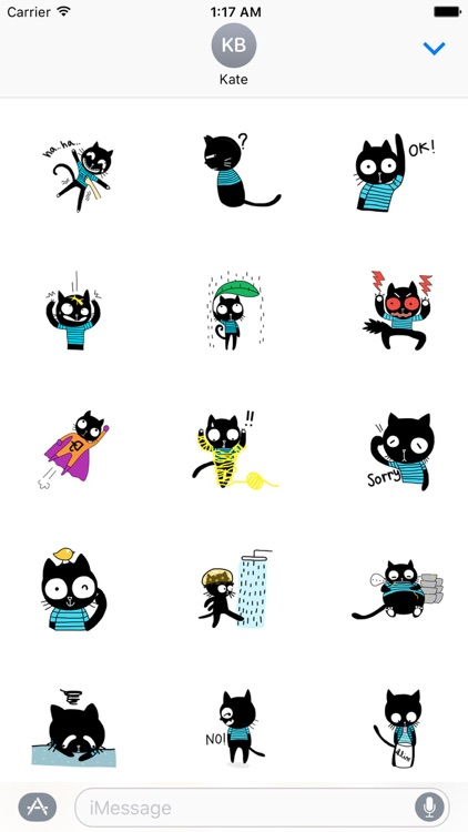 Naughty Black Cat Sticker Packs