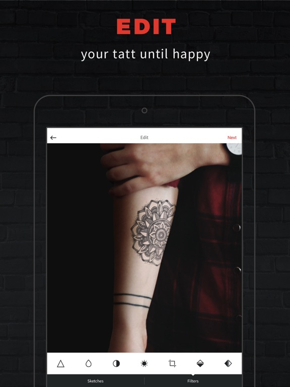 iPad Image of INKHUNTER Try Tattoo Designs