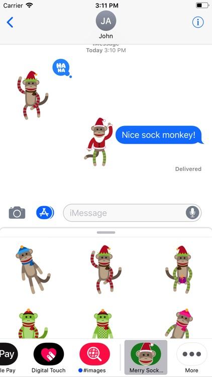 Merry Sock Monkey Stickers