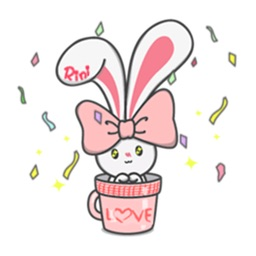 Lovely Bunny in A Cup Sticker