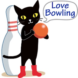Black Cat Love Bowling Sticker