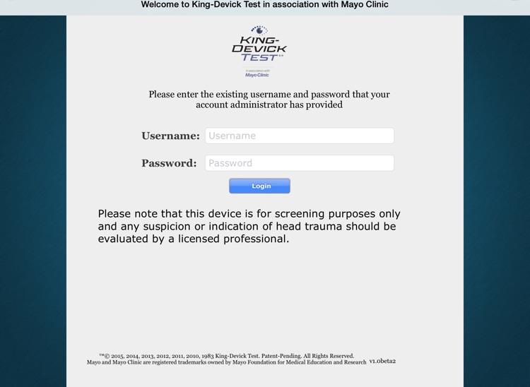 King-Devick Test w Mayo Clinic