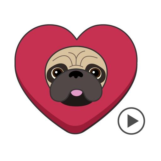 Pug Love Animated Dog Stickers