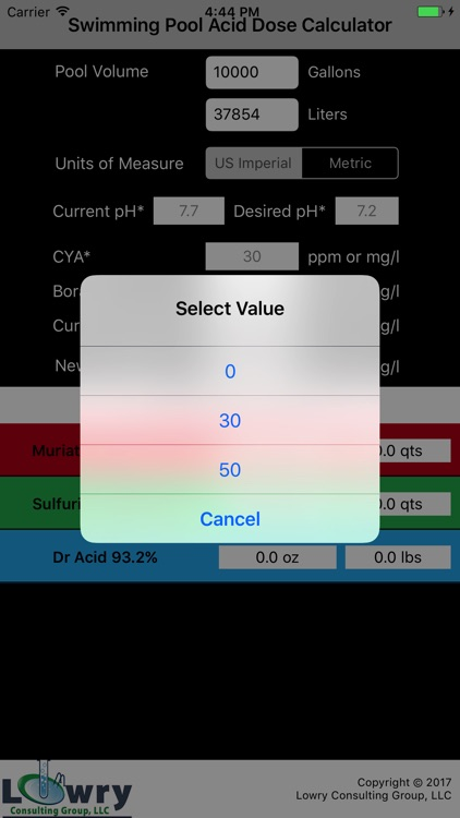 Pool Acid Dose Calc screenshot-2