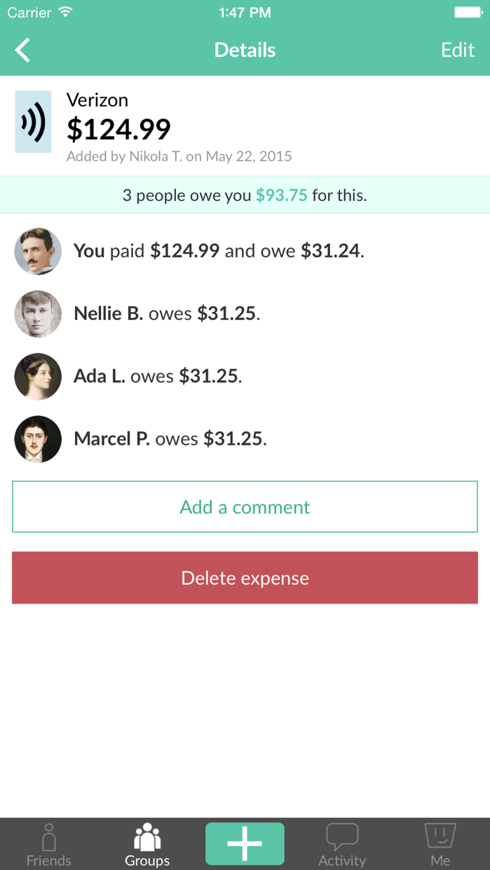 Splitwise Screenshot
