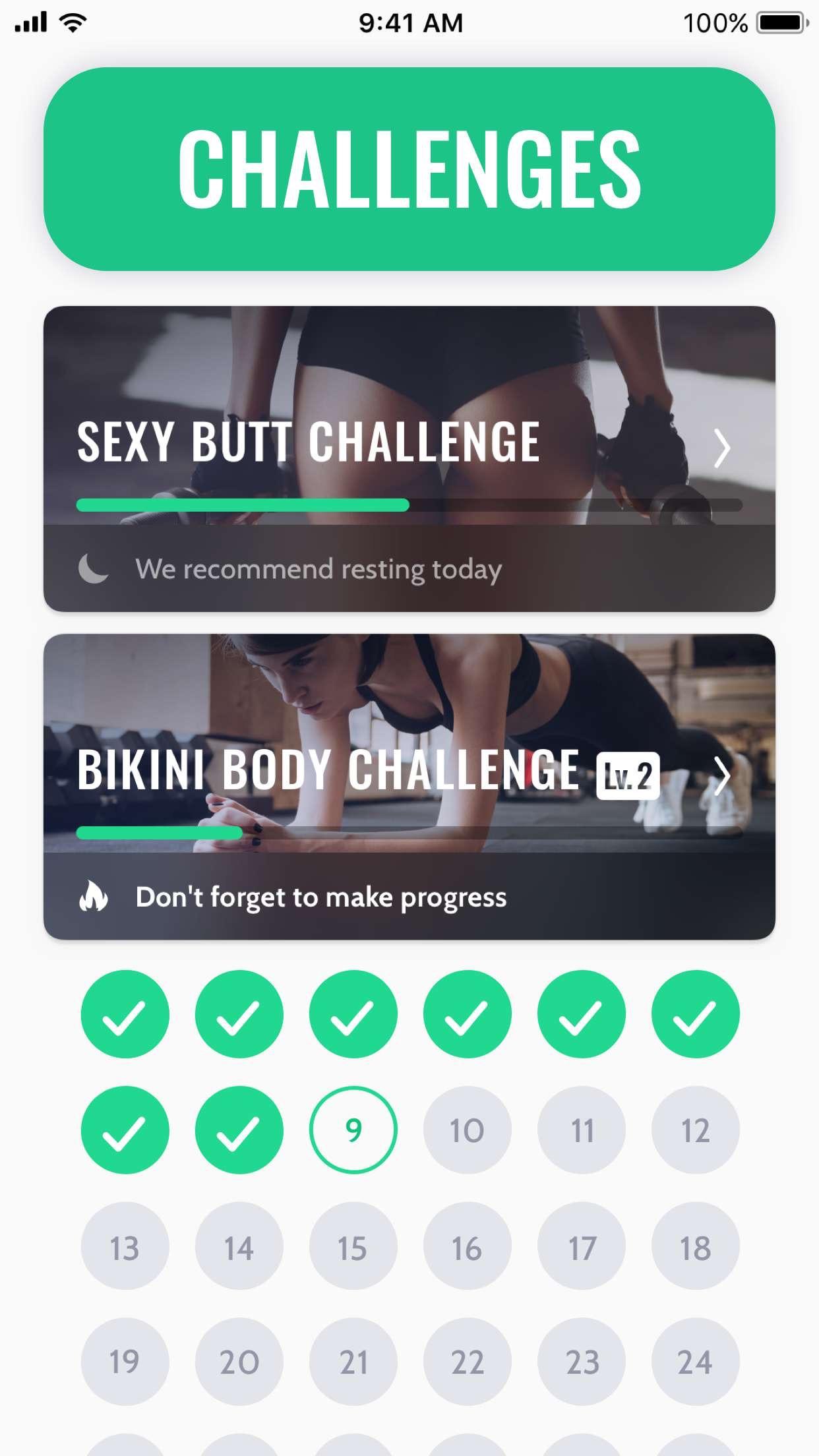30 Day Fitness Challenge Log Screenshot