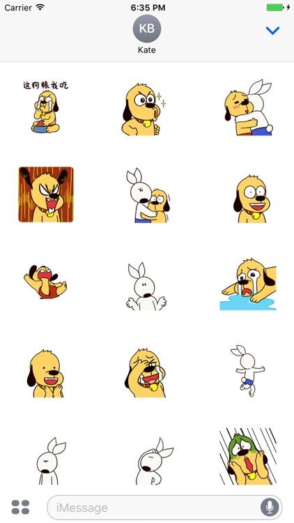 Lovely Rabbit & Dog - Animated Stickers Emoticons