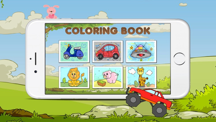The Coloring Book of a car and animals for kids