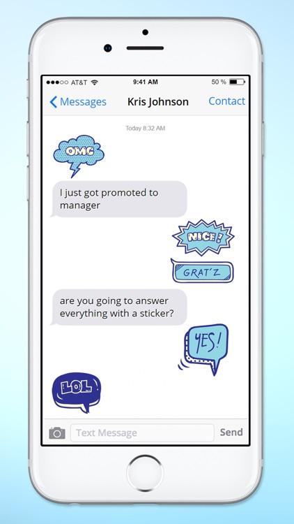 Blue Speech Bubble Words Text Sticker Pack
