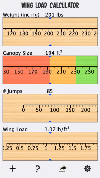 Skydive Wingload Calculator