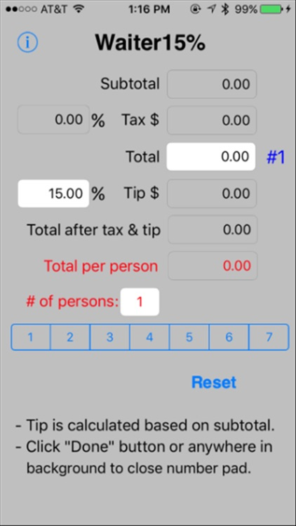 Waiter15% Tip Calculator