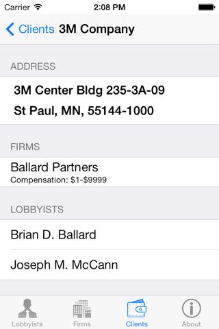 Screenshot of Florida Lobbyist Directory