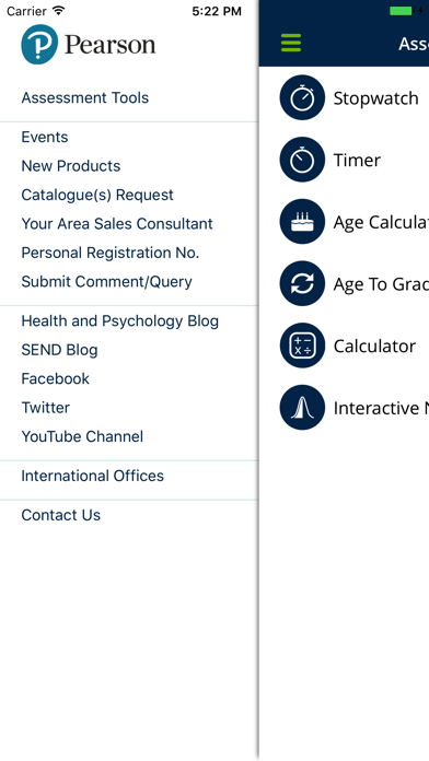 Pearson Clinical UK Assessment Assistant screenshot one