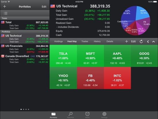 portfolio trader stock tracker app price drops