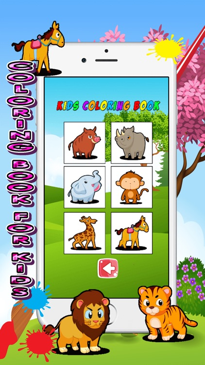 zoo animals card coloring book for kids screenshot-3