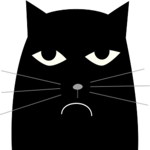 Fat Black Cat stickers by Olga Pervushkina