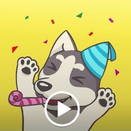 Playful Husky Animated Sticker