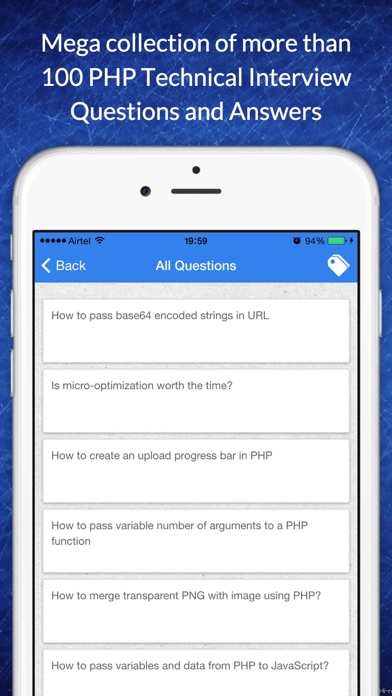 Free app for PHP technical job interview questions screenshot one
