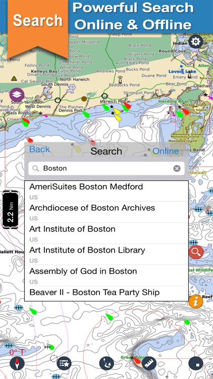 Massachussetts offline nautical chart for cruising