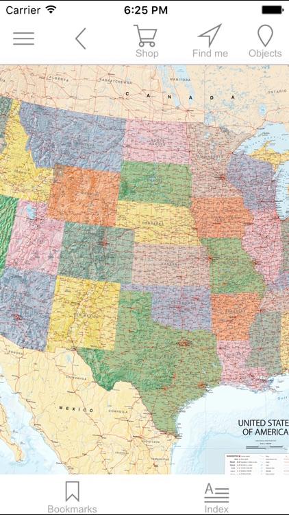 USA. Political map