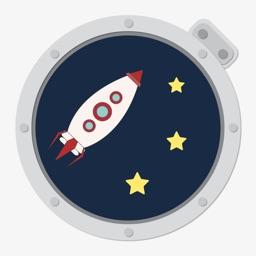 Cosmonaut Cartoon Rocket Ufo Odyssey through Space