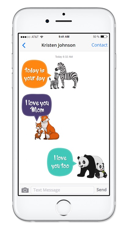 Cute Mom & Baby Animals Mothers Day Sticker Pack