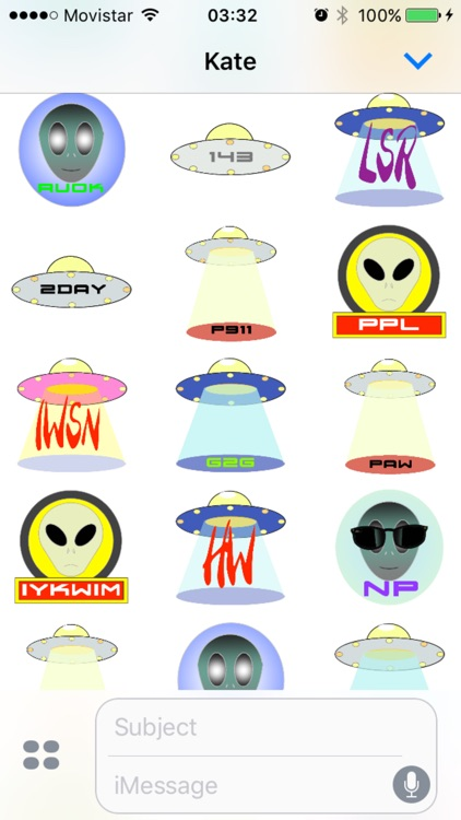 AlienTXTing - Animated UFO Alien Fun Stickers