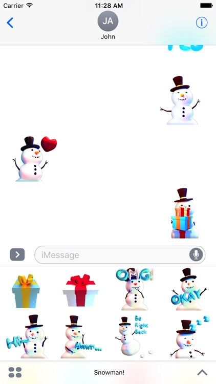 Snowman! Cute 3D Emoji Stickers for iMessage screenshot-4