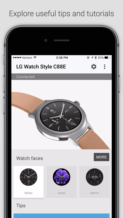 Screenshots of Android Wear for iPhone
