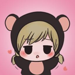Little Bear Girl Stickers