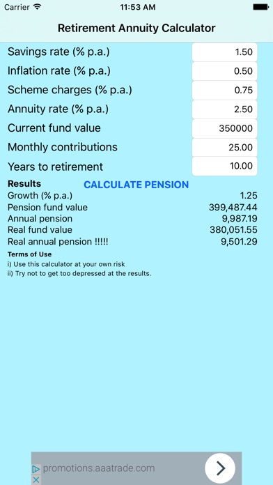 retirement pension annuity calculator iphoneアプリ applion