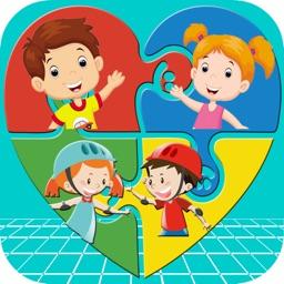 Kids Play Jigsaw Puzzle