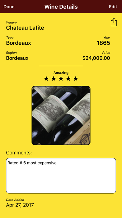 WineRater -- the Free, Easy Way to Rate and Remember Wines screenshot