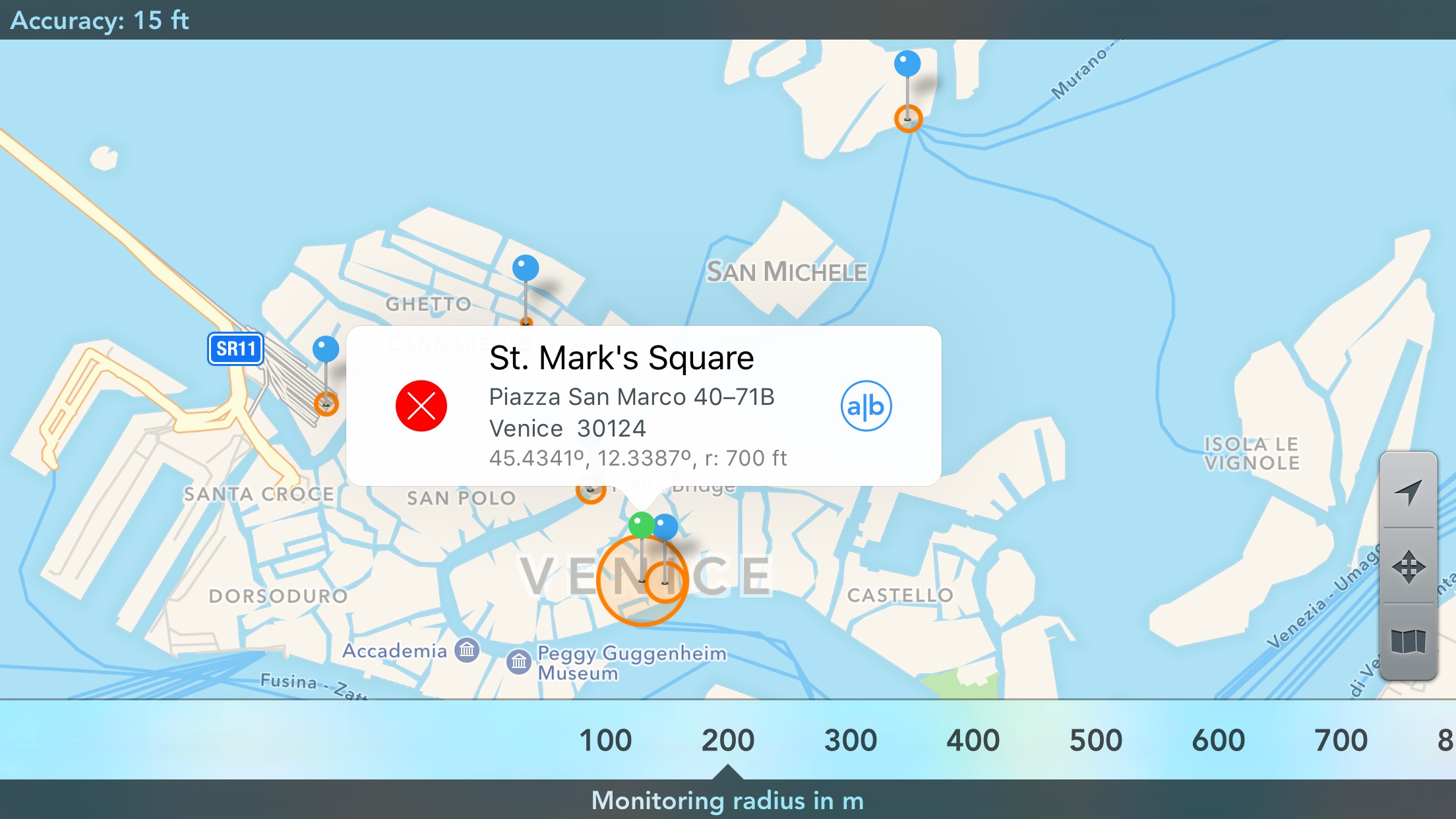 Screenshot do app Geofency Time Tracking