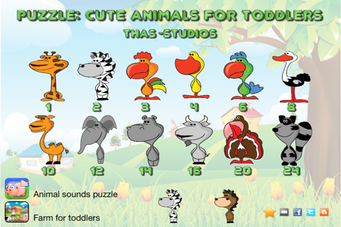 Puzzle: Cute animals for toddlers - náhled