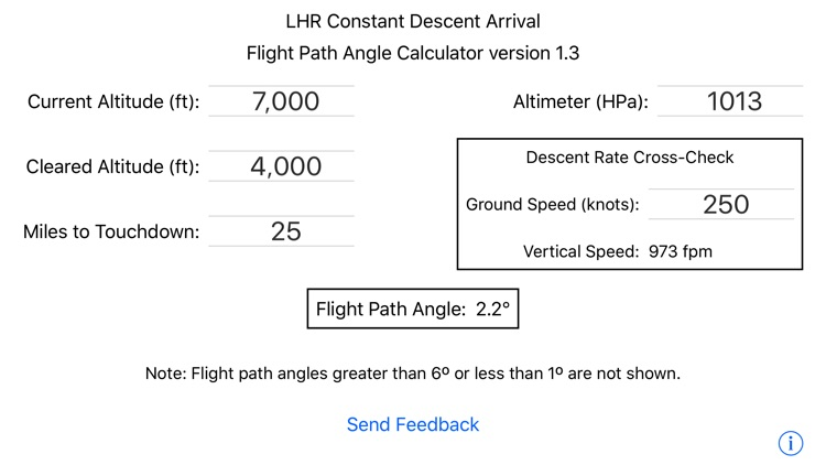 LHR Flight Path Angle Calculator